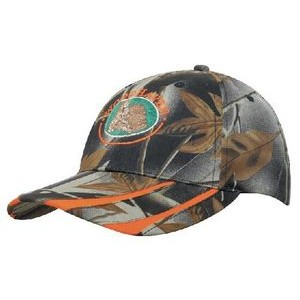 Leaf Print Camouflage Cap w/Laminated Two-Tone Visor (Embroidered)