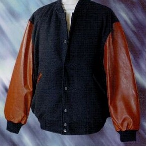 Varsity Leather Jacket with Tan Sleeves