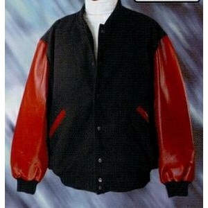 Varsity Leather Jacket with Tomato Red Sleeves